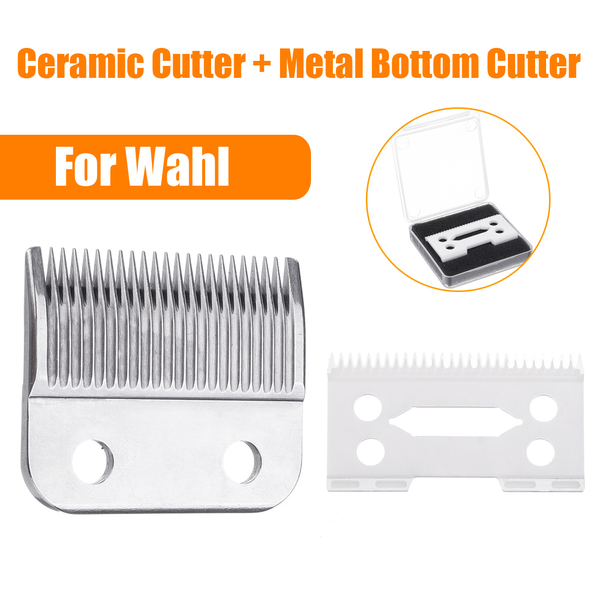 2Pcs Hair Clipper Ceramic Blade Cutter + Metal Bottom Beard Blade Cutter Knife With Box For Wahl Electric Shear Clipper Silver