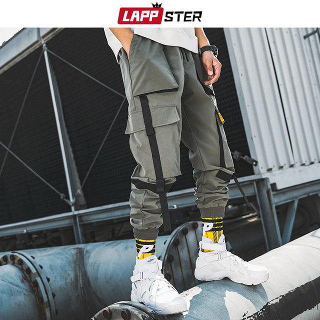 LAPPSTER Men Ribbons Streetwear Cargo Pants 2020 Autumn Hip Hop Joggers Pants Overalls Black Fashions Baggy Pockets Trousers 43