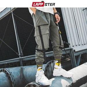 Image 5 - LAPPSTER גברים סרטי מטען Streetwear מכנסיים 2020 סתיו היפ הופ רצים מכנסיים סרבל שחור אופנת בבאגי כיסי מכנסיים