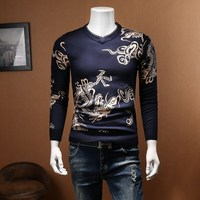 Slim Fit Dragon print Sweater Men Pullover Men Fashion Clothing Pull Homme Plus 4xl 5xl V neck Sweater Men Slim Sweter Hombre