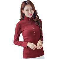 2016 Fashion Autumn Spring Blusa Women Turtleneck Warm Winter Tops Slim Casual Long Sleeve T Shirt