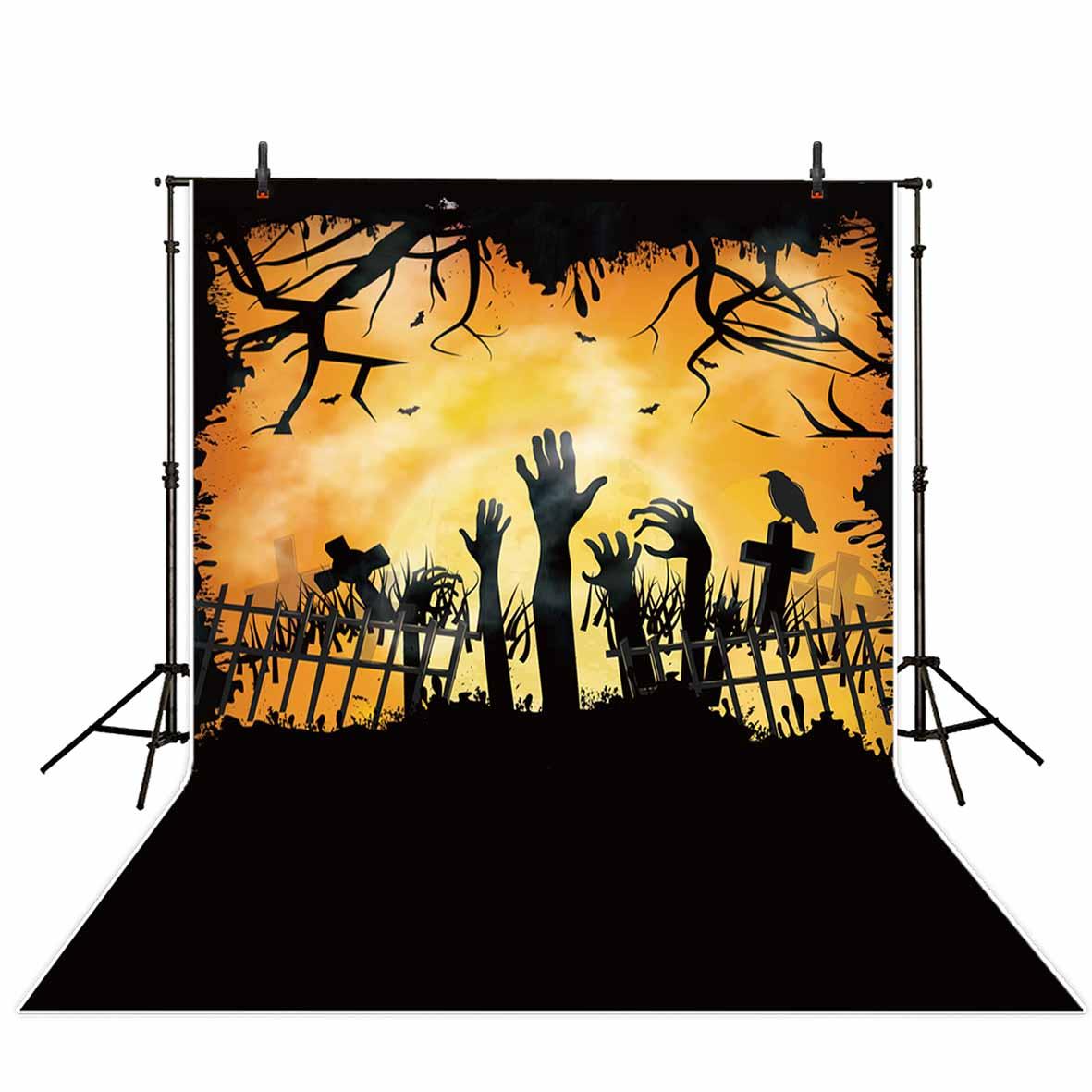 Allenjoy Halloween backdrop party decoration grave zombie crow moon ...
