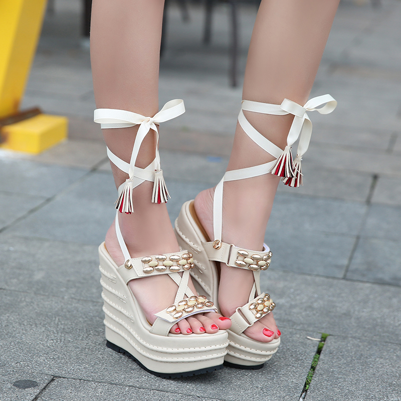 32-39 Women's Wedges Sandals Platform 14cm Super High Heels Lace up Strap Woman Sandals For Ladies Summer Shoes Gladiator 2017 chnhira 2017 suede gladiator sandals platform wedges summer creepers casual buckle shoes woman sexy fashion high heels ch406