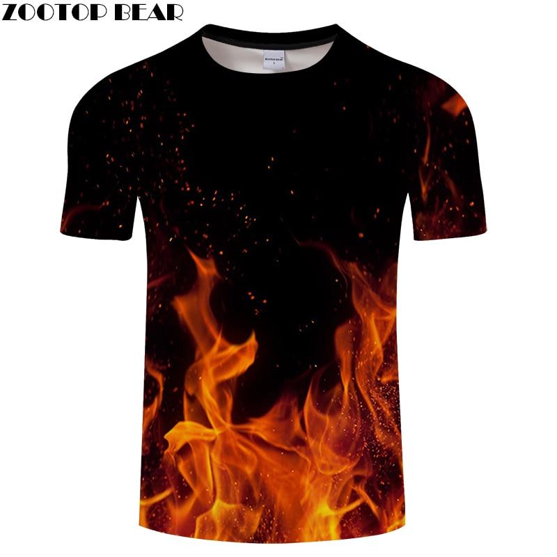 Hip Hop Fire 3D Printed   T     shirt   Men Fashion   t     shirt   Funny Casual Summer Tops&Tees Male Tshirt Drop Ship 2018 New ZOOTOP BEAR