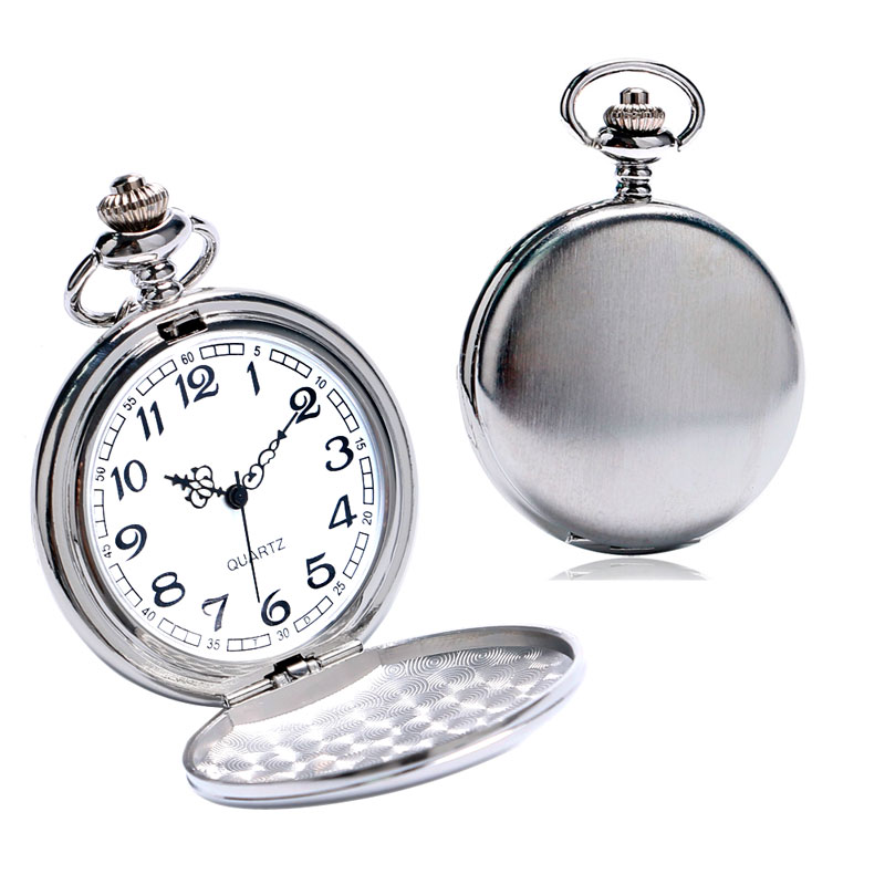Silver Smooth Face Cover Pocket Watch Women Men Pendant Watches with Necklace Chain Wedding Gift P1030 shuhang fashion automatic mechancial pocket watch pendant with fob chain for men women gift smooth silver hollow clock relogio