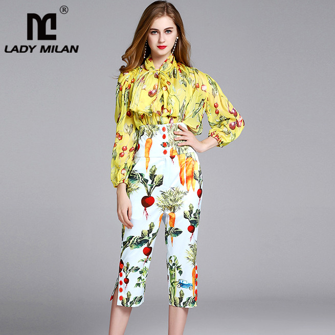New Arrival Womens Sash Bow Belt Printed Long Sleeves Shirts with 3/4 Floral Pants Fashion Two Piece Pants Sets