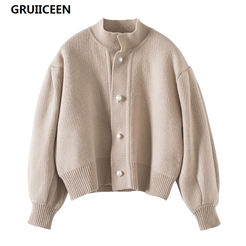 GRUIICEEN 2017 automne perles bouton femmes tricotage cardigans mode hiver chandail lanterne manches court cardigan SG-0819165
