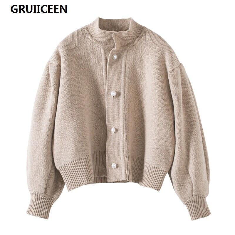 Gruiiceen 2017 осенние жемчуг кнопки женщин Вязание кардиганы модная зимняя одежда свитер фонарь рукав короткий кардиган SG-0819165