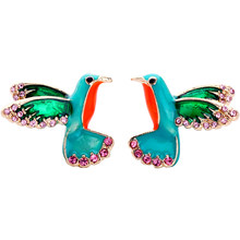 Green Lovely Girls Crystal Enamel Multi Color Birds Stud Earrings Hot Sale High Quality Specialize Cute Earring For Gift Jewelry(China)