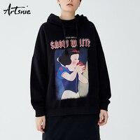 Artsnie Black Casual Cartoon Character Sweatshirt Women Spring 2019 Knitted Hooded Oversized Hoodie Streetwear Loose Sweatshirts