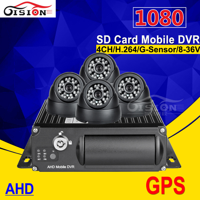 DHL  Build-in GPS Model 1080P G-sensor Cyclic Recording AHD 4CH Car Mobile Dvr +4 Pcs 1.3MP Night View IR Camera