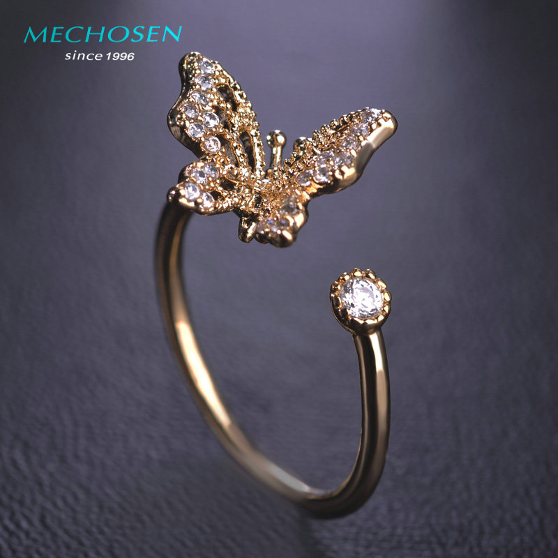 online shop cute zircon butterfly wedding rings korea women adjustable aros summer anel joyeria bridal party bijoux engagement anillo bague aliexpress - Butterfly Wedding Ring