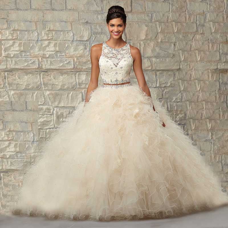 1873ddf6f 2016 Sweet 16 Two Piece Quinceanera Dresses Vestidos De 15 Anos Ball Gowns  Crystal Top Ruffles Vestidos De Quinceaneras Gowns