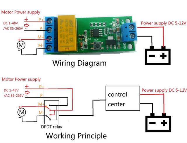 DC 5V 6V 9V 12V Motor Reversible Controller Time adjustable Delay Relay Ac Dc Reversible Motor Wiring Diagram on
