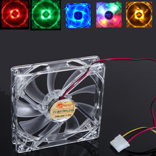 4 LED Light Quad PC Computer Clear Case Cooler Fan CPU Cooling Fan 120 x 120 x 25mm Blue/Yellow/Red/Green Lights