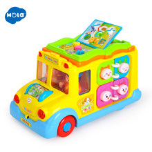 HOLA 796 Children Electric School Bus Music Car Including 8 Games & Animal Calls Early Educational Toys for Children Gift(China)