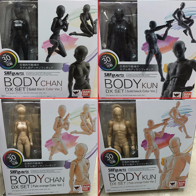 6 Types Body KUN Body Chan SHFiguarts PVC Action Figure DX SET Figma He She Solid Black Pale Orange Gray Ver In Box