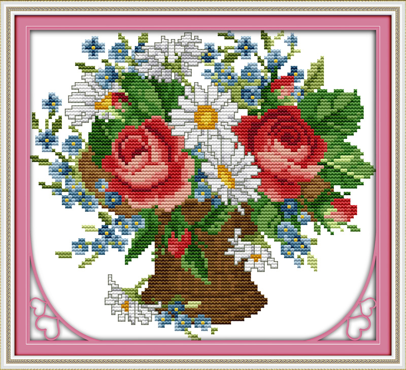 All flowers bloom together cross stitch kits 14ct white 11ct print on canvas embroidery set sewing hand made crafts home decor