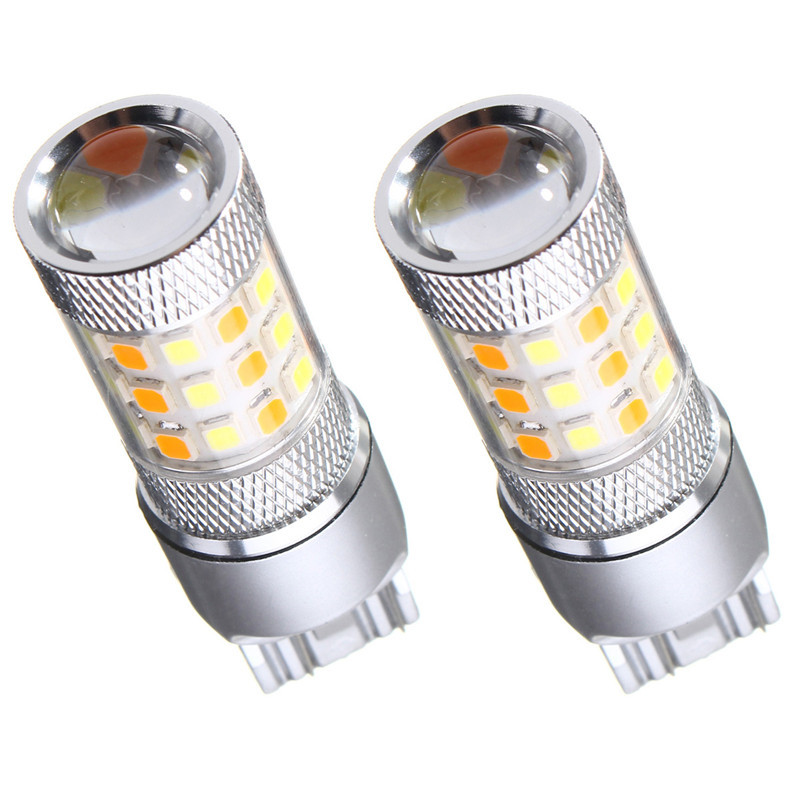 2pcs Dual Color White Yellow Car Lights 3157 7443 42 SMD 2835 LED Auto Turn Light Switchback Light Bulb With Resistor DC12V 3156 12w 600lm osram 4 smd 7060 led white light car bulb dc 12v