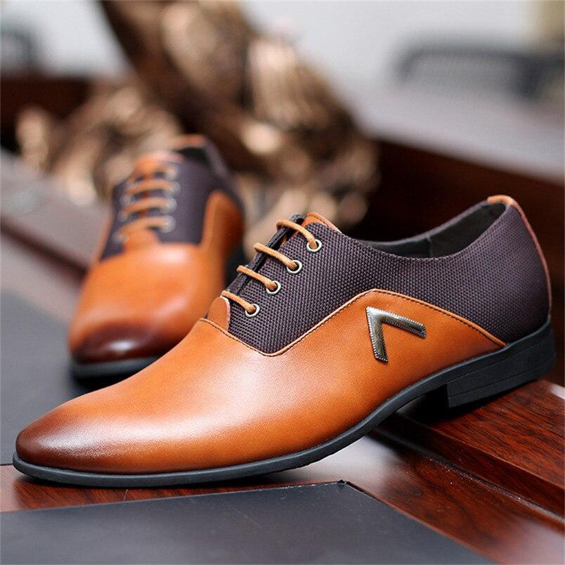 Men Leather Shoes Oxford Dress Shoes Summer Male Flats Bullock Formal Zapatillas Hombre Black Brown Size 35 -47 zapatos hombre zapatillas de moda 2019 hombre