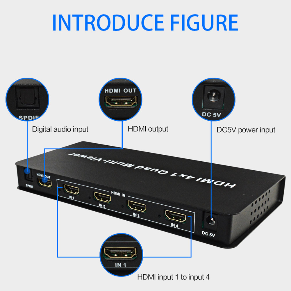 HDMI 4x1 Quad Multi-viewer Support Seamless Switch HD Video Splitter Compatible HDMI 1.3a HDCP 1.2 DJA99