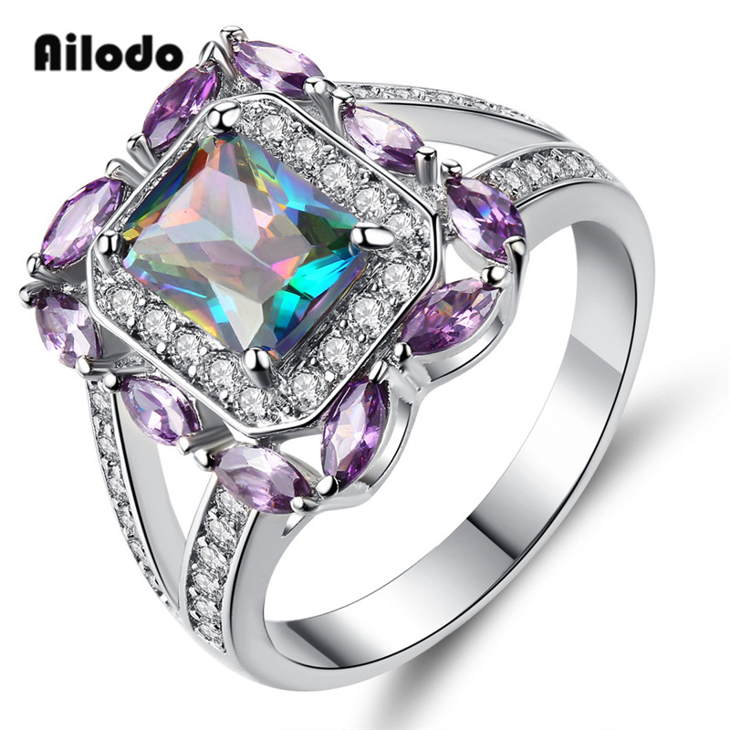 Ailodo Square Zircon Silver Engagement Rings For Women Femme CZ Crystal Stone Wedding Bands Love Ring Party Jewelry Gift LD095