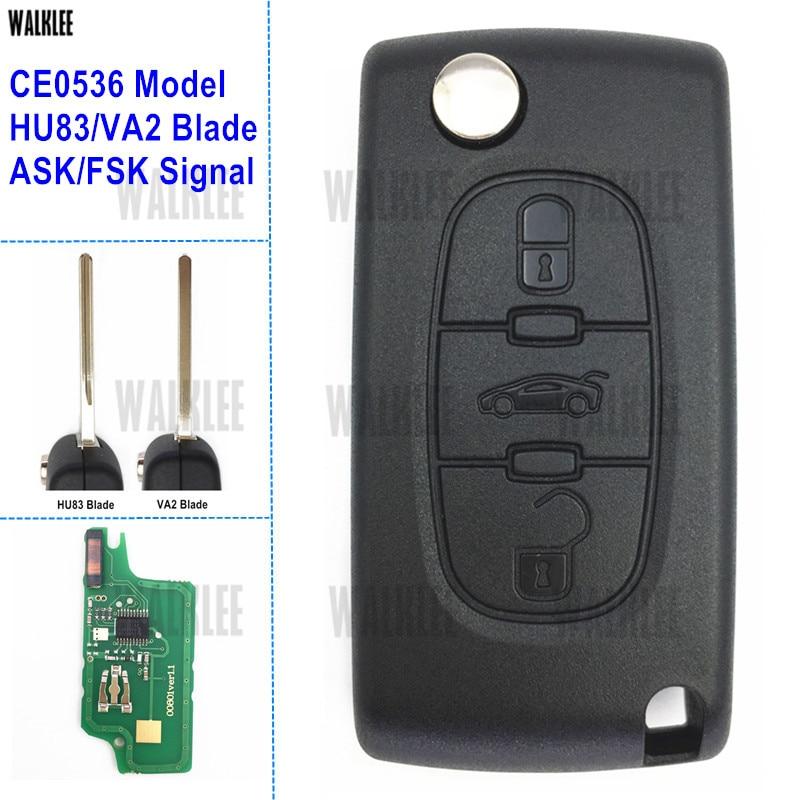Car Remote Key for PEUGEOT 207 208 307 308 408 Partner CE0536 FSK 3 Buttons HU83
