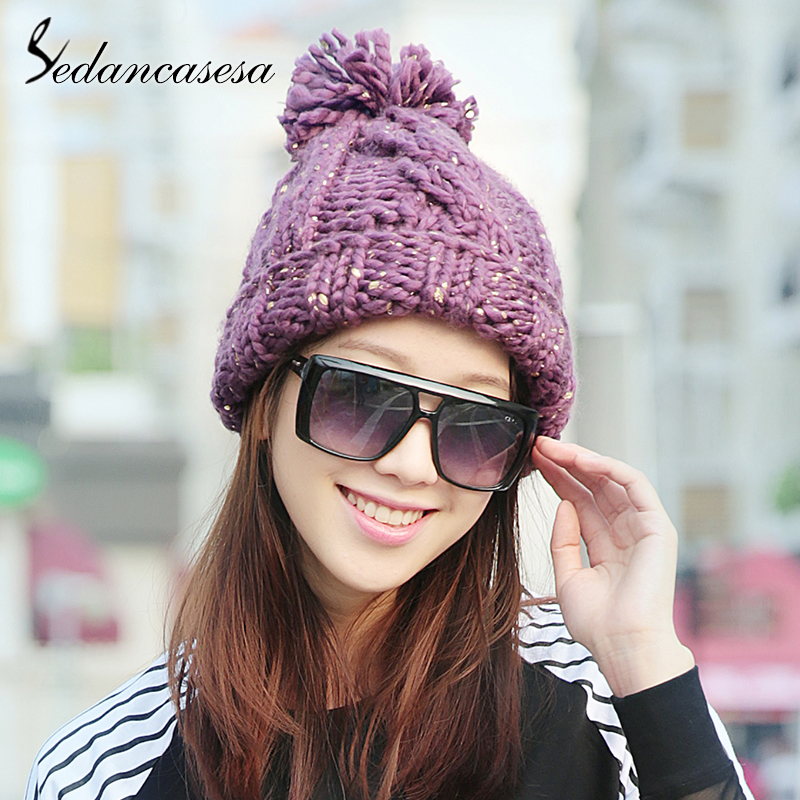 Sedancasesa 2018 New Pom Poms Winter Hat for Women Fashion Solid Purple Warm Hats Knitted   Skullies     Beanies   Cap Female Caps