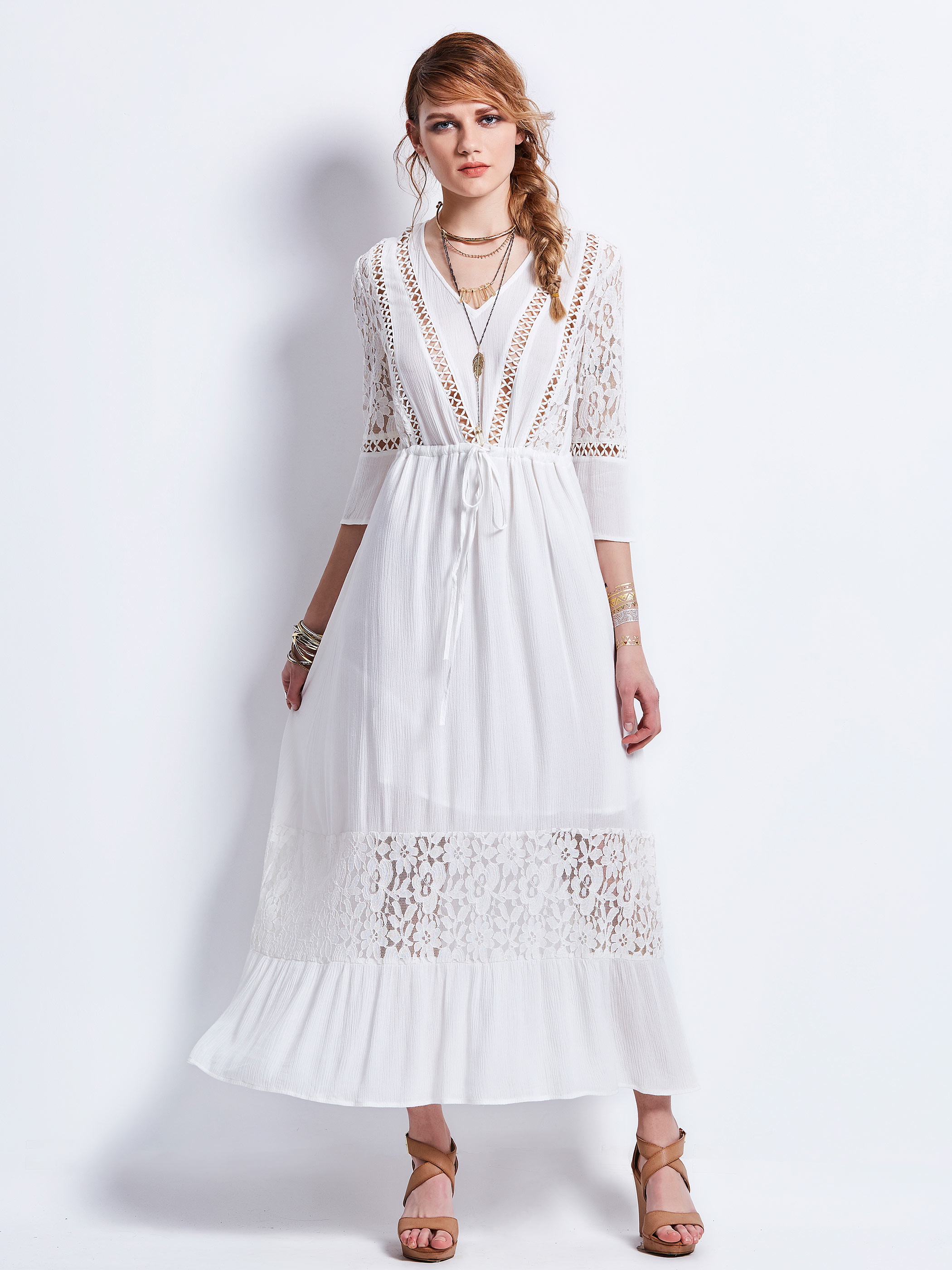 Women Dress White Casual Beach Bohemian Hollow out Slip Dress Lace Up Three-Quarter Sleeve Dresses Elegant Party Maxi Dress ...