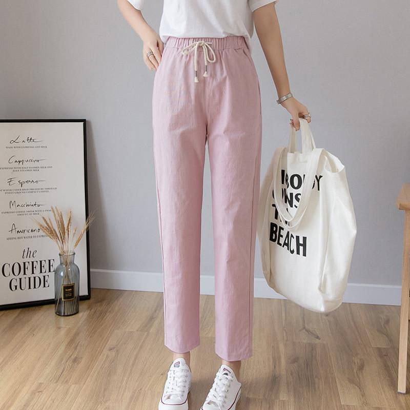 Cotton Linen Ankle Length Pants Women Spring Summer Casual Trousers Pencil Casual Pants Harem Women's Trousers High Waist Bottom