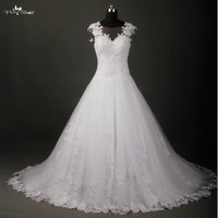 New Fashionable High Quality A Line Wedding Dresses Sheer Neck Lace Appliques Bridal Dress Manufacturer Vestido