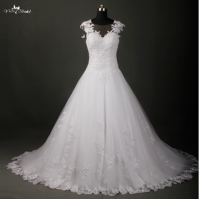 32b0c3b029918 RSW787 جديد عصري عالية الجودة خط فساتين الزفاف شير الرقبة الرباط يزين فستان  الزفاف الصانع vestido
