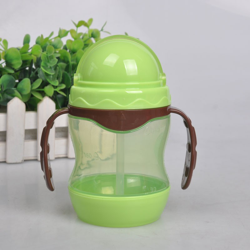 Baby Kids Child Drinking Cup Training Drink Bottle Non-toxic Bottles Feeding Portable & Anti-slip with Straw Dual Handles Bottle