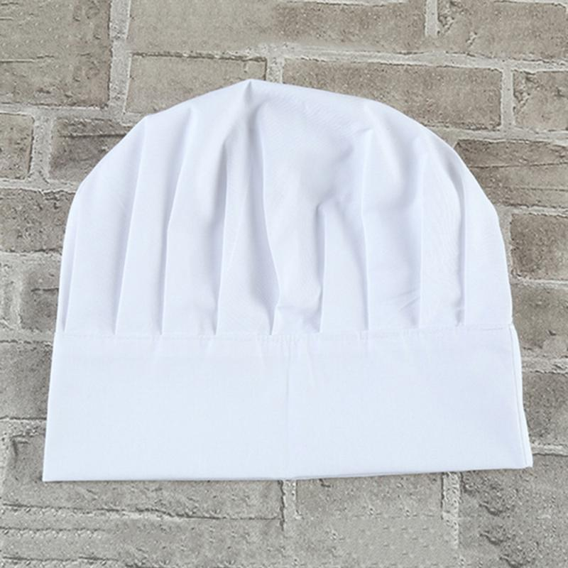 1Pcs Unisex Adult Elastic White Chef Hat Baker BBQ Kitchen Cooking Hat Costume Cap