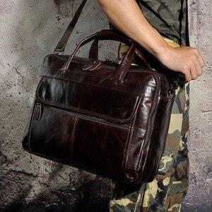 Image 5 - Erkek yağ balmumu deri antika tasarım iş evrak çantası dizüstü evrak çantası moda ataşesi askılı çanta Tote portföyü 7146