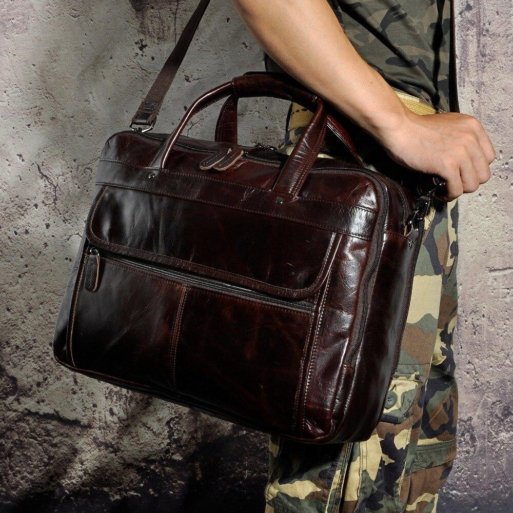 Maletín de negocios de diseño antiguo de cuero encerado de aceite para hombres maletín de documentos de ordenador portátil maletín de mensajero de moda 7146 - 6