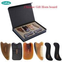 Cofoe 6 PCS Skin Facial Head Body Care Treatment Slimming Massage GUASHA Horn Board Comb Scraping Scraper Massager Tool Set GIFT