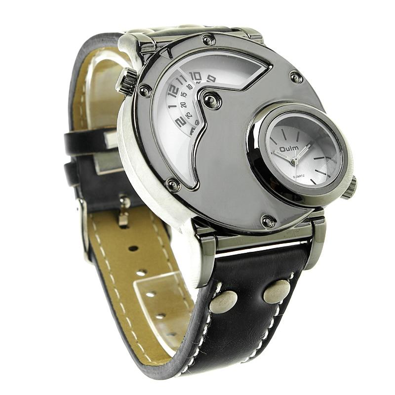 Aviator Pilot Wrist Watch w/ Dual time, black leather 4