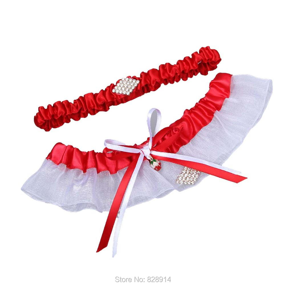 Red Wedding Garters: Red Ribbon Wedding Garter Set With Rhinestones Beads