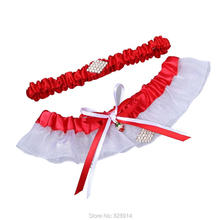 Red Ribbon Wedding Garter Set With Rhinestones Beads Handmade Bridal Garter Set Wedding Accessories Toss Keepsake garter