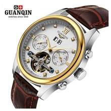 Tourbillon GUANQIN Watch Men Famous Brand Watch Luxury Men Mechanical Watches Waterproof Fashion Military Leather Wristwatches