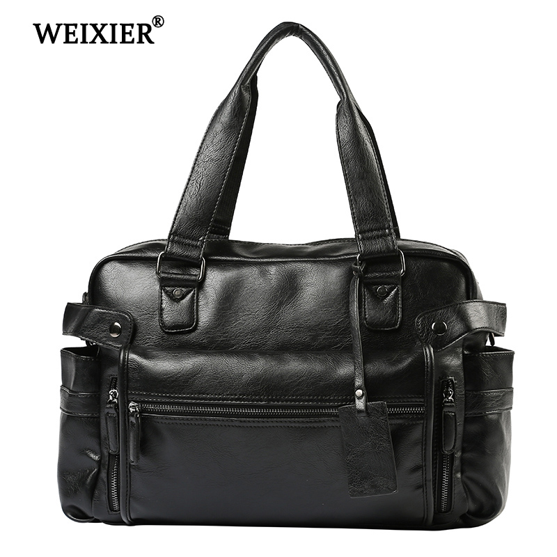 WEIXIER Men 2019 New Brand Fashion PU Leather Large Capacity Men Travel Bag Multifunctional Casual Man Shoulder Fashion BagsWEIXIER Men 2019 New Brand Fashion PU Leather Large Capacity Men Travel Bag Multifunctional Casual Man Shoulder Fashion Bags