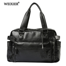 WEIXIER Men 2019 New Brand Fashion PU Leather Large Capacity Travel Bag Multifunctional Casual Man Shoulder Bags