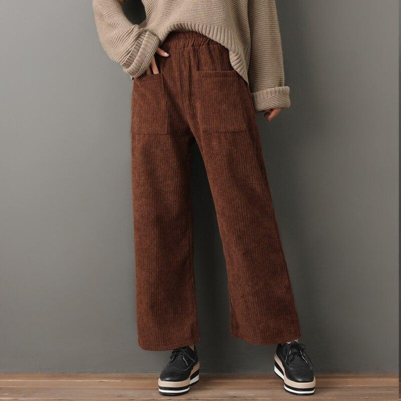 Plus Size 2018 Autumn Winter Women Fashion Solid Color Corduroy   Pants   Female Elastic Waist Warm Fleece Casual   Wide     Leg     Pants