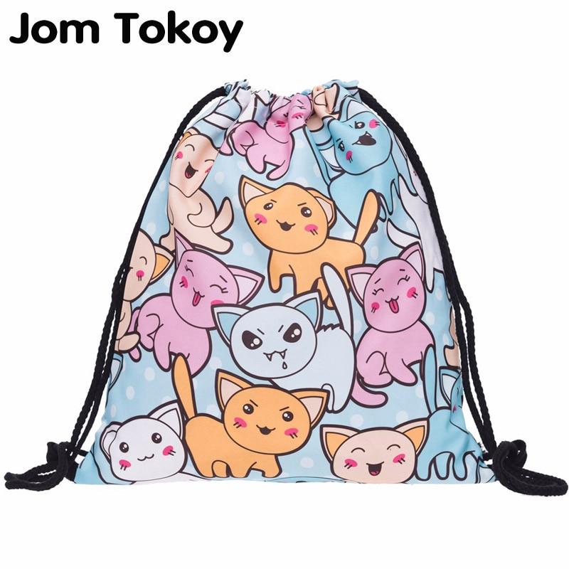 New Fashion Cats Women Backpack 3D Printing Travel Softback Women Drawstring Bag Mens Backpacks Girls Backpack
