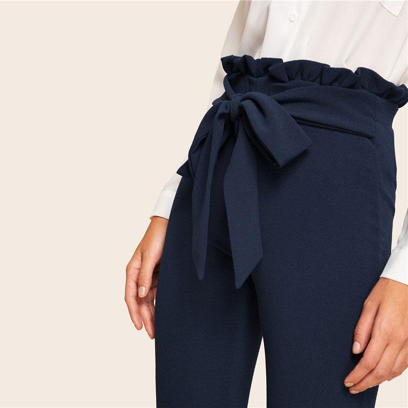 SHEIN Elegant Paperbag Waist Belted Detail Solid High Waist Pants Women Skinny Frill Trim Elastic Waist Spring Summer Pants 11