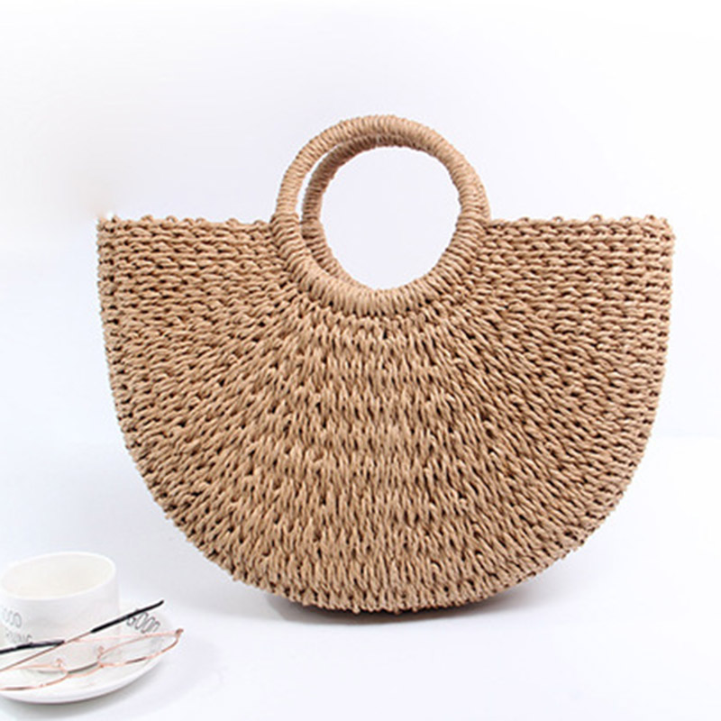 Summer Beach Bag Women Woven Handmade Rattan Straw Bags Women Casual Straw Tote Large Wristlet Bag Travel Ladies Handbag W284 wegogo women handbag new thailand straw bag ladies travel holiday summer beach bohemian boho weaving woven straw tote bag