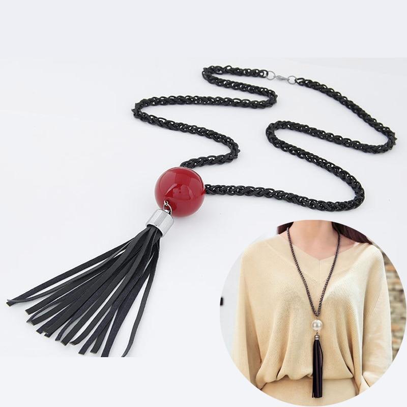 2016 Arrival Tassel Pendant Sweater Chain Long Beads Necklacs