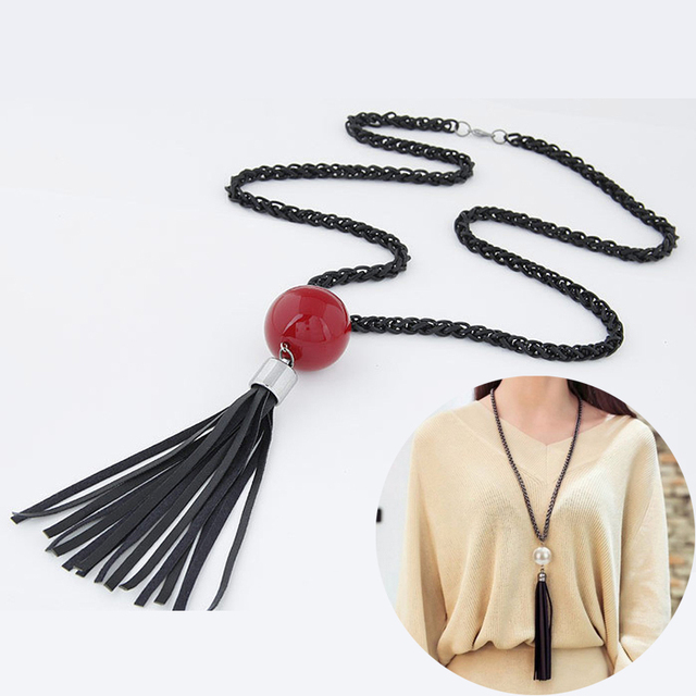 Fashion Tassel Pendant Sweater Long Chain Necklace White Red Beads Women Girls N