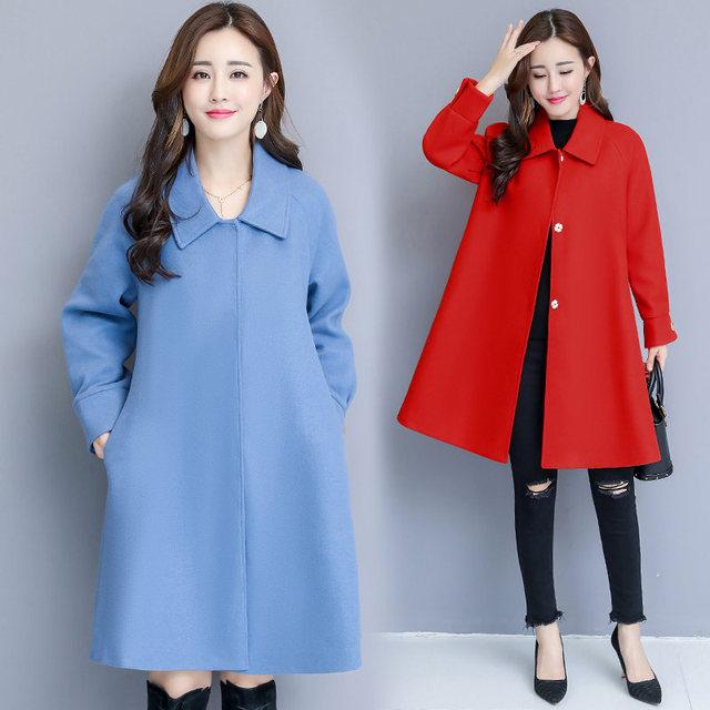 Woolen Coat Women Autumn Winter Cloak Style Long Wool Coat Plus Size Warm Parka Overcoat Blue Red Women Coat Abrigos Mujer C4839 4